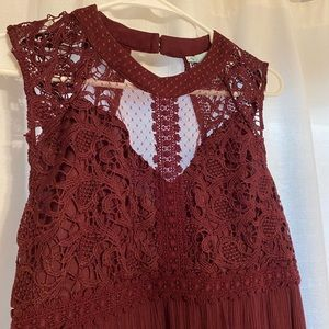 Burgundy Embroidered Tank
